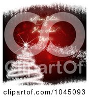 Royalty Free RF Clip Art Illustration Of A Red And White Merry Christmas And Happy New Year Tree Greeting by MacX