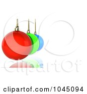 Row Of 3d Colorful Christmas Baubles Over White