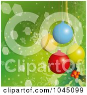 3d Colorful Christmas Baubles Over A Green Snowflake Background