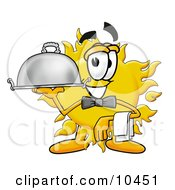 Sun Mascot Cartoon Character Dressed As A Waiter And Holding A Serving Platter