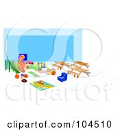 Royalty Free RF Clipart Illustration Of A Childrens Playground Area