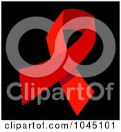 Royalty Free RF Clip Art Illustration Of A Red HIV AIDS Awareness Ribbon On Black