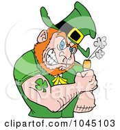 Royalty Free RF Clip Art Illustration Of A Leprechaun Smoking A Pipe And Flexing His Tattooed Arm by LaffToon #COLLC1045103-0065