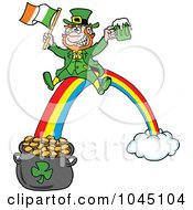 Royalty Free RF Clip Art Illustration Of A Leprechaun Holding Beer And An Irish Flag While Sliding Down A Rainbow by LaffToon #COLLC1045104-0065