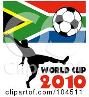 Royalty Free RF Clipart Illustration Of A Silhouetted Soccer Player With World Cup 2010 Text A South African Flag And Soccer Ball