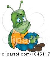 Royalty Free RF Clip Art Illustration Of A Bug Hugging His Knees