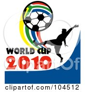 Royalty Free RF Clipart Illustration Of A Soccer Player With World Cup 2010 Text Kicking A South African Soccer Ball