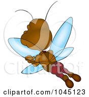 Royalty Free RF Clip Art Illustration Of A Brown Bug Flying