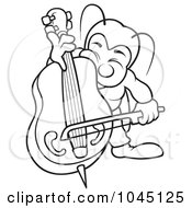 Royalty Free RF Clip Art Illustration Of A Black And White Outline Of A Bug Playing A Bass