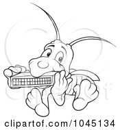 Royalty Free RF Clip Art Illustration Of A Black And White Outline Of A Bug Playing A Harmonica by dero