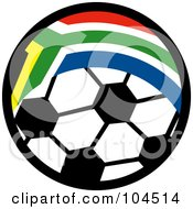 Royalty Free RF Clipart Illustration Of A South African Flag Pattern On A Soccer Ball
