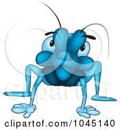 Royalty Free RF Clip Art Illustration Of A Blue Bug Glaring