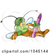 Royalty Free RF Clip Art Illustration Of A Bug With A Crayon