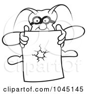 Royalty Free RF Clip Art Illustration Of A Black And White Outline Of A Bug Holding Paper With A Hole
