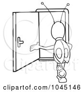 Royalty Free RF Clip Art Illustration Of A Black And White Outline Of A Bug Walking In A Door