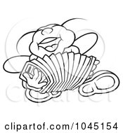 Royalty Free RF Clip Art Illustration Of A Black And White Outline Of A Bug Playing An Accordion