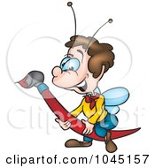 Royalty Free RF Clip Art Illustration Of A Bug Painting