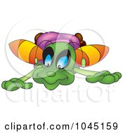 Royalty Free RF Clip Art Illustration Of A Kneeling Bug