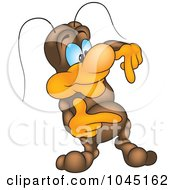 Royalty Free RF Clip Art Illustration Of A Bug Pointing Down