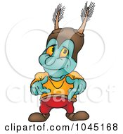 Royalty Free RF Clip Art Illustration Of A Turquoise Bug