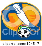 Royalty Free RF Clipart Illustration Of A Soccer Players Foot By A South African Ball