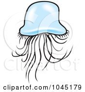 Royalty Free RF Clip Art Illustration Of A Blue Jellyfish 4