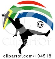 Royalty Free RF Clipart Illustration Of A Silhouetted Soccer Player Kicking A Ball Under An Arched South African Flag