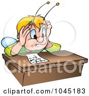 Royalty Free RF Clip Art Illustration Of A Beetle Stressing Over A Letter On A Desk
