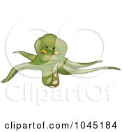 Royalty Free RF Clip Art Illustration Of A Green Octopus 1 by dero