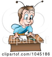 Royalty Free RF Clip Art Illustration Of A Beetle Leaning Over A Letter On A Desk