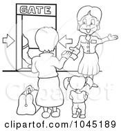Black And White Outline Of A Girl And Mom Looking At A Flight Gate