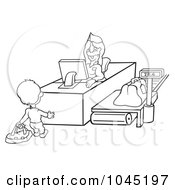 Royalty Free RF Clip Art Illustration Of A Black And White Outline Of A Man Checking In
