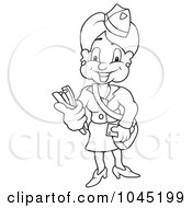 Royalty Free RF Clip Art Illustration Of A Black And White Outline Of A Conductress