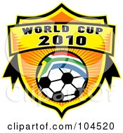 Royalty Free RF Clipart Illustration Of A World Cup 2010 Soccer Ball Shield With A South African Flag