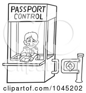 Black And White Outline Of A Passport Control Booth