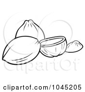 Royalty Free RF Clip Art Illustration Of A Black And White Outline Of Coconuts by dero