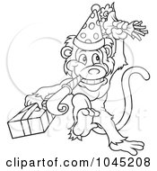 Royalty Free RF Clip Art Illustration Of A Black And White Outline Of A Birthday Monkey Celebrating by dero