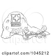 Royalty Free RF Clip Art Illustration Of Black And White Outline Of Ants Working At A Hospital by dero