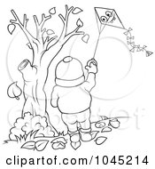 Royalty Free RF Clip Art Illustration Of A Black And White Outline Of A Boy Flying A Kite by dero