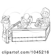 Royalty Free RF Clip Art Illustration Of A Black And White Outline Of A Woman Going Through Customs