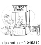Black And White Outline Of People At A Passport Control Booth