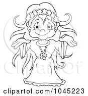 Royalty Free RF Clip Art Illustration Of A Black And White Outline Of A Female Fairy by dero