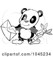Black And White Outline Of A Panda Holding An Envelope
