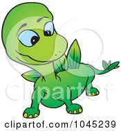Royalty Free RF Clip Art Illustration Of A Green Dino by dero