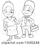 Royalty Free RF Clip Art Illustration Of A Black And White Outline Of An Aunt And Uncle Holding Hands