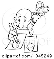 Royalty Free RF Clip Art Illustration Of A Black And White Outline Of A Man Drawing by dero