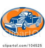 Royalty Free RF Clipart Illustration Of A Blue And Orange Snow Plow Logo