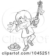 Royalty Free RF Clip Art Illustration Of A Black And White Outline Of A Happy Boy Holding A Pole By Easter Eggs by dero