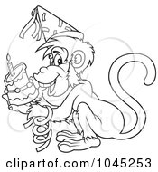 Royalty Free RF Clip Art Illustration Of A Black And White Outline Of A Birthday Monkey by dero