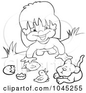 Black And White Outline Of A Girl Playing With Animals